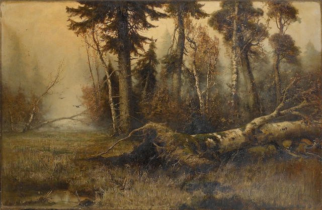 Yuli Yulievich  Klever (Russian, 1850-1924) Forest clearing 58.5 x 84 cm. (23 x 33 in.)