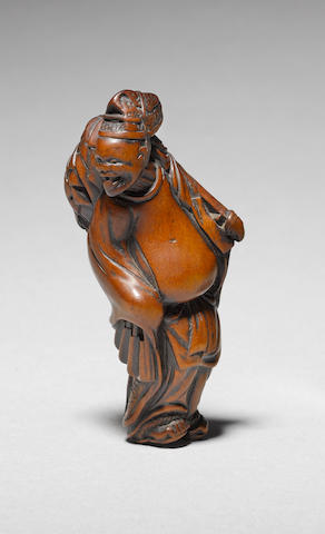 A rare wood study of a Shinto priest By Tametaka, Nagoya, 18th century
