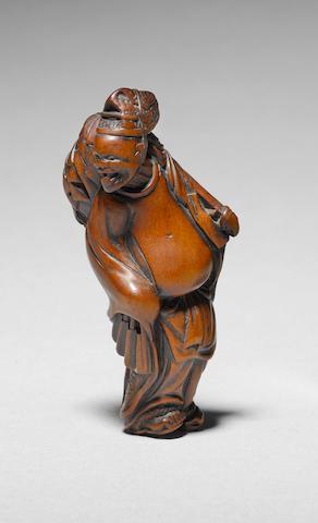 A rare wood study of a Shinto priest By Tametaka, Nagoya, 18th century