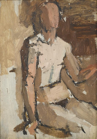 Euan Uglow (British, 1932-2000) Study of a nude 19.6 x 14 (7 3/4 x 5 1/2 in.)