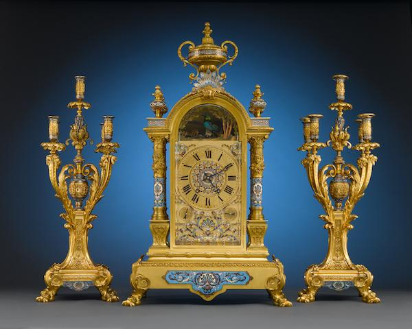 A Monumental Singing Bird Clock Garniture, French, late 19th century