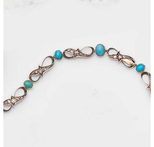 A Victorian diamond and turquoise necklace