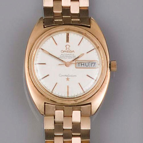 Omega, Constellation: A gentleman's gold plated stainless steel wristwatch