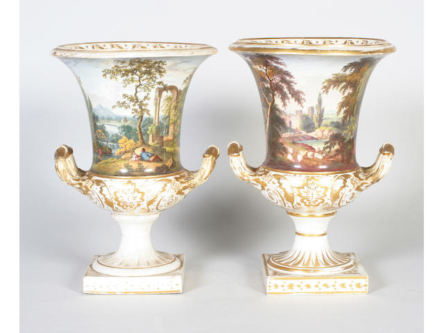 A pair of large Derby twin handled vases