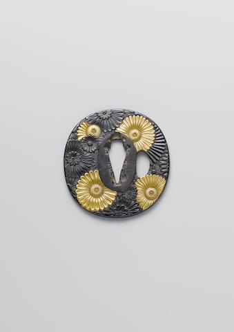 A ko-kinko shakudo tsuba Late Muromachi Period, 16th century