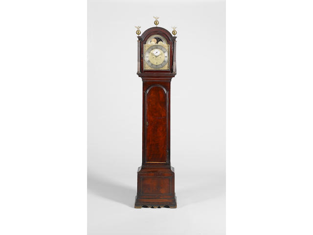A late 18th century mahogany longcase clock with moonphase John Hovil, London