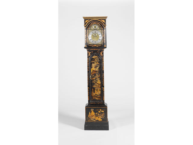 A mid 18th century lacquered longcase clock with rise and fall regulation in the dial Richard Rayment, St. Edmunds Bury Fecit