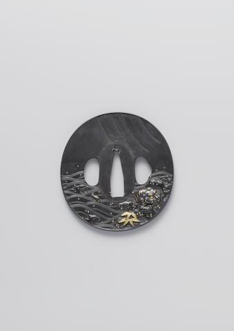 A mito shakudo tsuba Edo Period, 18th/19th century