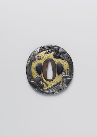 Two kinko soft metal tsuba Late Edo Period, 19th century
