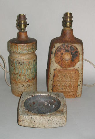 Alan Wallwork two Lamp Bases and an Ash Tray Height of lamp bases 24.5cm (9 5/8in) and 23.5cm (9 1/4in.)