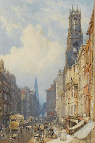 George Sidney Shepherd (British, 1784-1862) Fleet Street, London 45.5 x 29 cm. (17 3/4 x 11 1/2 in.)
