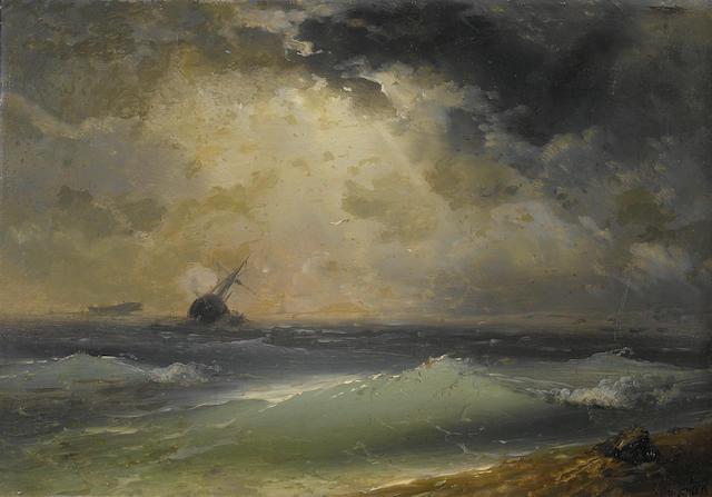Migirdic Givanian (Armenian, 1848-1906) The open sea 34.6 x 49.5 cm. (13 1/2 x 19 1/2 in.)