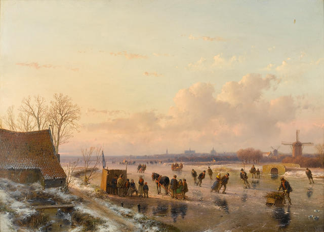 Andreas Schelfhout (Dutch, 1787-1870) Winter landscape with skaters, Haarlem in the distance 31.5 x 44 cm. (12 1/2 x 17 1/4 in.)