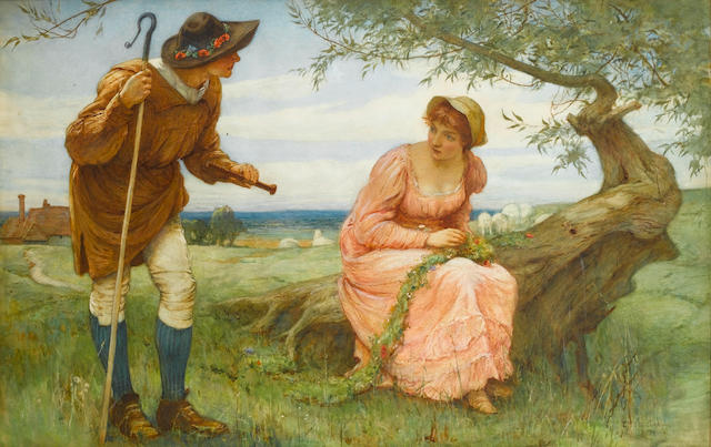 Edward Frederick Brewtnall, RWS, RBA (British, 1846-1902) When love was young 78 x 112 cm. (28 x 44 in.)