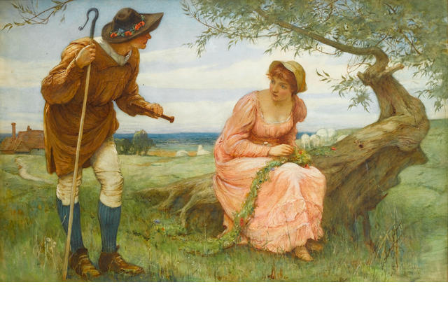 Edward Frederick Brewtnall, RWS, RBA (British, 1846-1902) When love was young 78 x 112 cm. (28 x 44