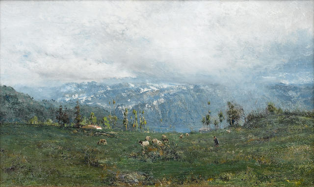 Ivan Pavlovich Pokhitonov (Ukrainian, 1850-1923) Mountain landscape with Lake Geneva in the foreground 16 x 27 cm. (6 1/4 x 10 1/2 in.)