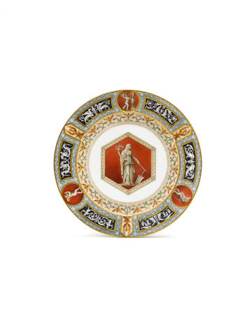 A porcelain plate from the Raphael Service, Imperial Porcelain Manufactory, St. Petersburg, Period o