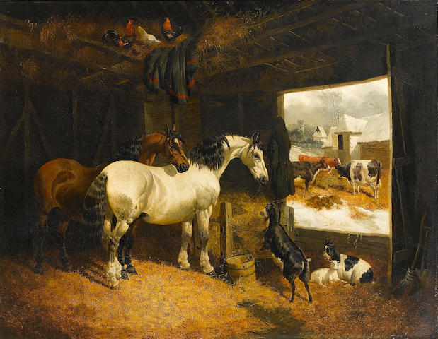 John Frederick Herring, Jnr. (British, 1815-1907) Farmyard scene with horses, goats and cattle 73 x 92.5 cm. (28 3/4 x 36 1/4 in.)