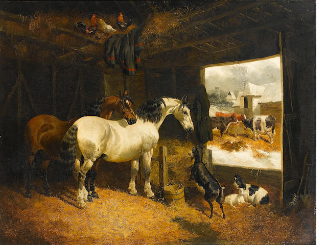 John Frederick Herring, Jnr. (British, 1815-1907) Farmyard scene with horses, goats and cattle 73 x