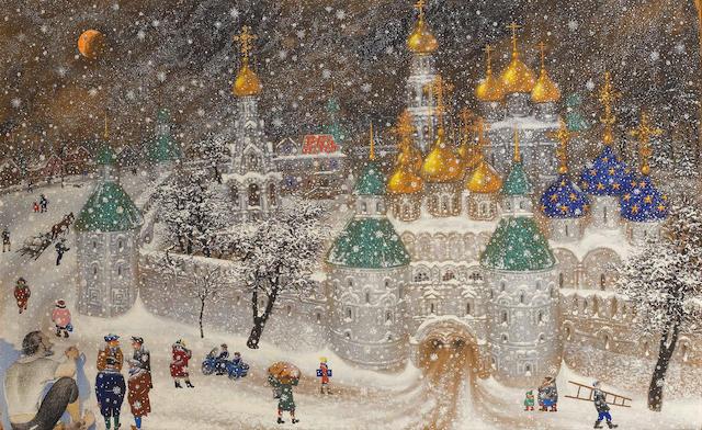 Vasily Sitnikov (Russian, 1915-1987) 'Monastyr' (Monastery) 60.5 x 98.4 cm. (23 3/4 x 38 3/4 in.)