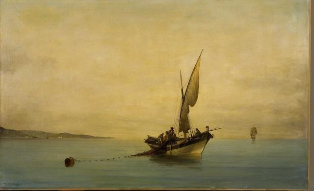 Constantinos Volanakis (Greek, 1837-1907) Casting the nets 60 x 95 cm.