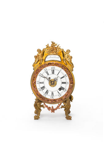 A rare late 18th century gilt brass and pinchbeck mantel timepiece with enamel dial and alarm Christopher Pinchbeck, London