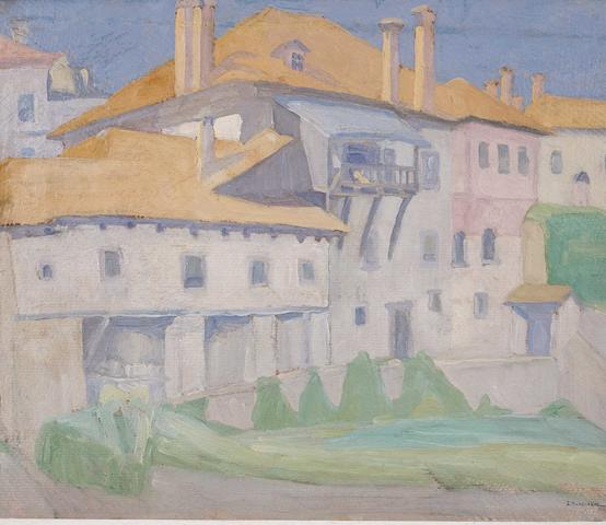 Spyros Papaloukas (Greek, 1892-1957) Monasteries, Mount Athos 27.5 x 33 cm.