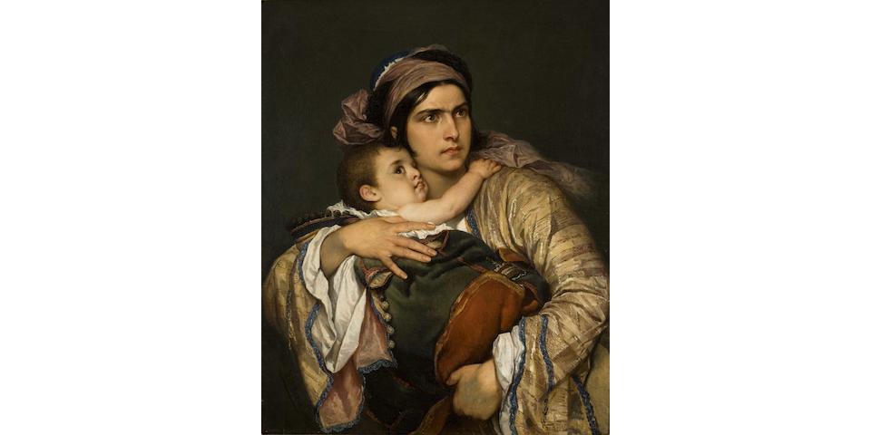 Cesare Felix Georges dell' Acqua (Italian, 1821-1904) Greek mother 86 x 66 cm.