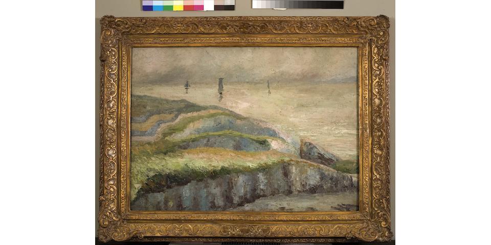 Constantinos Maleas (Greek, 1879-1928) Landscape 65.5 x 90 cm.