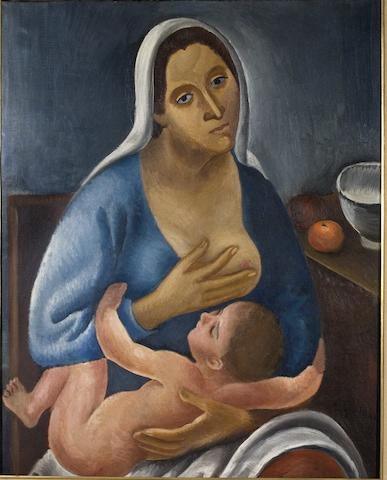 Dimitrios Galanis (Greek, 1880-1966) Motherhood 93 x 73 cm.