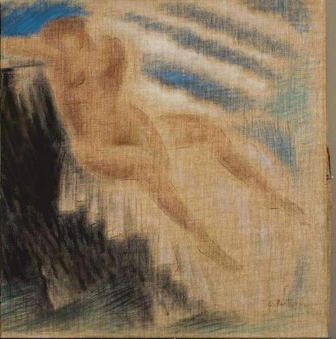 Constantinos Parthenis (Greek, 1878-1967) The bather 59.5 x 57 cm.
