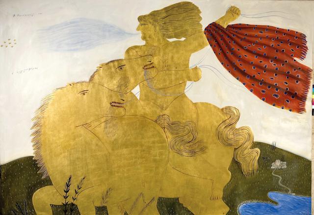 Alecos Fassianos (Greek, born 1935) The messenger 250 x 360 cm.
