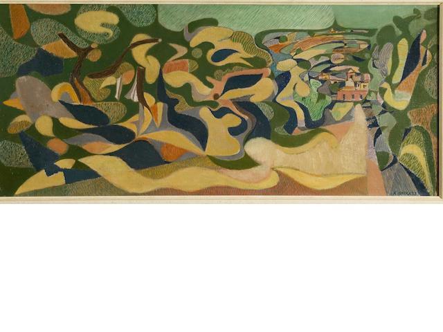 Nikos Hadjikyriakos-Ghika (Greek, 1906-1994) The road to Itea 33 x 75.5 cm.