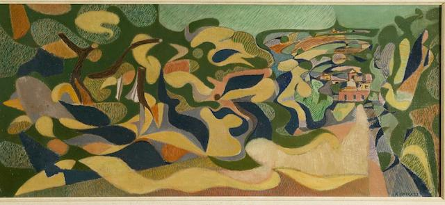 Nikos Hadjikyriakos-Ghika (Greek, 1906-1994) The road to Itea 33 x 75.5 cm.
