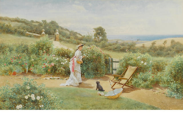 Tom Lloyd (British) Gathering flowers in a coastal garden 38 x 63 cm. (14 3/4 x 24 3/4 in.)