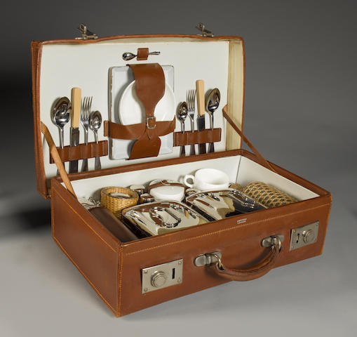 A fine quality two person picnic and drinking set by Asprey, circa 1910,