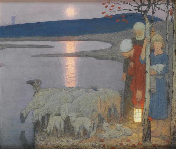 Frederic Cayley Robinson, ARA, RWS (British, 1862-1927) Pastoral 40.5 x 47 cm. (16 x 18 1/2 in.)