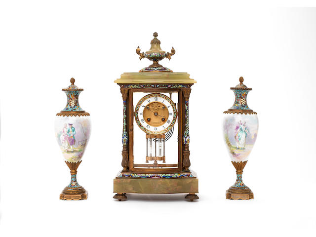An late 19th century onyx and champleve enamel mantel clock garniture J.W.Benson, London, the movement stamped Mougin