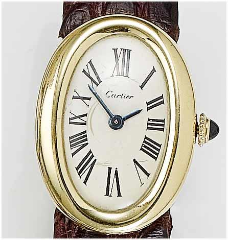 Cartier. A lady's 18ct gold wristwatch  Baignoire, 1980's