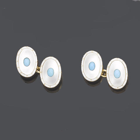 A mother-of-pearl, turquoise and enamel dress set,