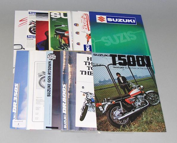 Suzuki sales brochures dating from the nineteen seventies and eighties,