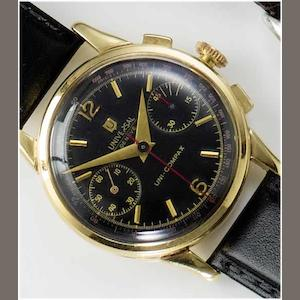 Universal. An 18ct gold chronograph wristwatch  Uni-Compax, 1950's