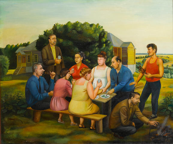 Tatiana Nazarenko (Russian, born 1944) Dinner at the farmstead, 1992 101.5 x 122 cm. (40 x 48 in.)