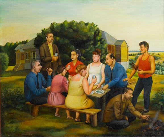 Tatiana Nazarenko (Russian, born 1944) Dinner at the farmstead, 1992 101.5 x 122 cm. (40 x 48 in.)
