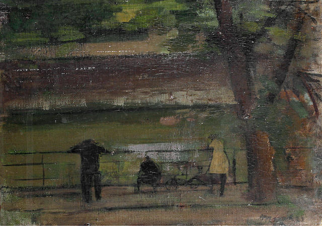 Rodrigo Moynihan (British, 1910-1991) Figures by the Thames