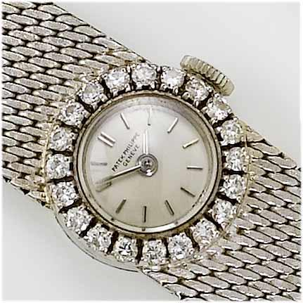 Patek Philippe. A lady's 18ct white gold diamond set bracelet watch  1960's
