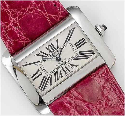 Cartier. A lady's stainless steel centre seconds wristwatch  Tank Divan, recent