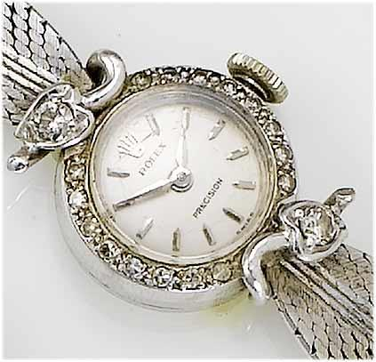 Rolex. A lady's 18ct white gold diamond set bracelet watch London Import mark for 1962