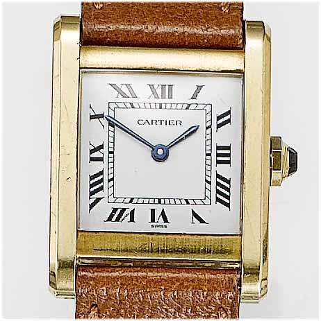 Cartier. An 18ct gold  rectangular wristwatch Tank, 1970's