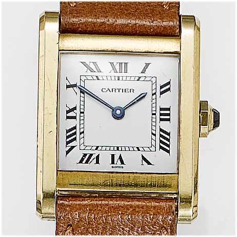 Cartier. An 18ct gold  rectangular wristwatch Tank, 1970's